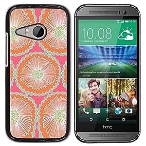 TopCaseStore / la caja del caucho duro de la cubierta de protección de la piel - Pattern Pink Teal Peach Wallpaper - HTC ONE MINI 2 / M8 MINI