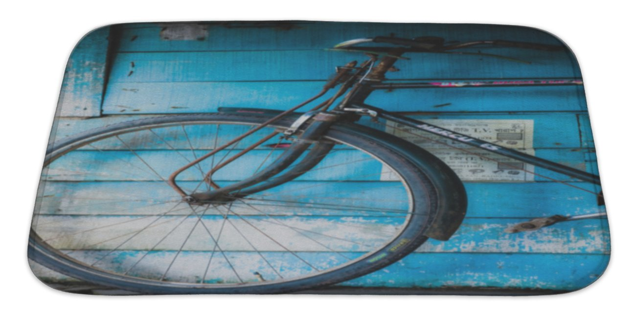 Gear New Vintage Bicycle in India Bath Rug Mat No Slip Microfiber Memory Foam