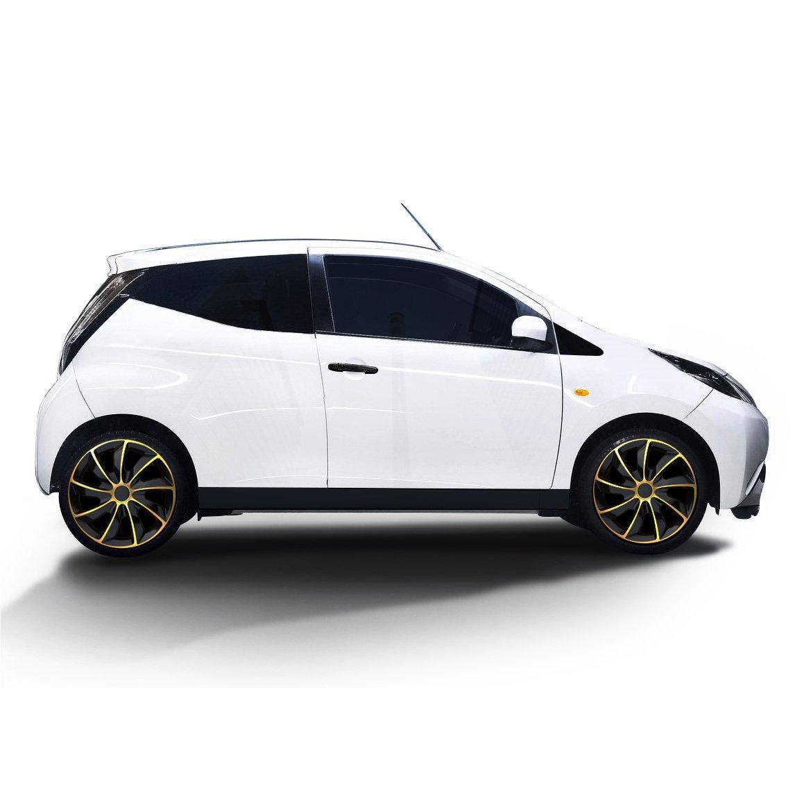 Schwarz-Gold universal passend f/ür Fast alle Fahrzeugtypen Eight Tec Handelsagentur RADKAPPEN K/ÖNIG 16 Zoll Radkappen//Radzierblenden 02RK Bicolor