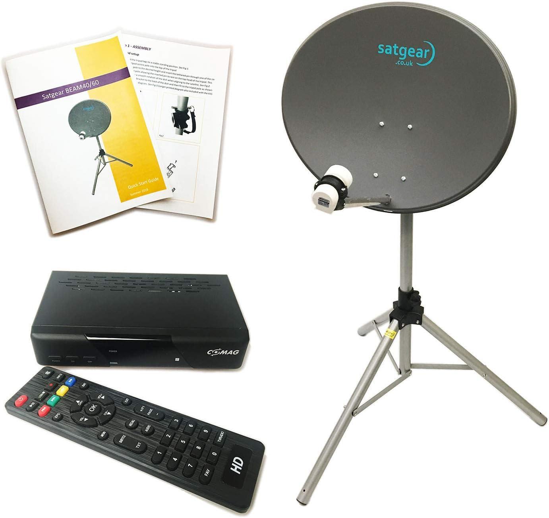 Satgear Beam60HD Zone 2 - Kit de Viaje para Caravana por satélite portátil (Incluye Receptor HD de 12 V/240 V, trípode y satfinder