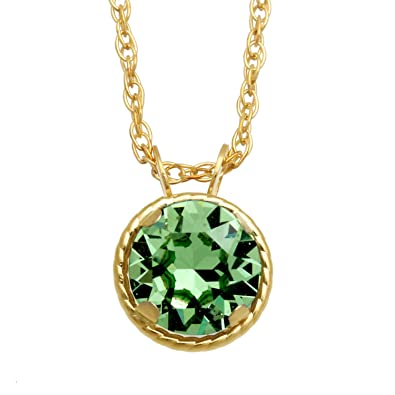 e9e37ef6a5a Amazon.com: Jewelili 10kt Yellow Gold 6mm Round Swarovski Peridot Crystal  Solitaire Pendant Necklace, 18
