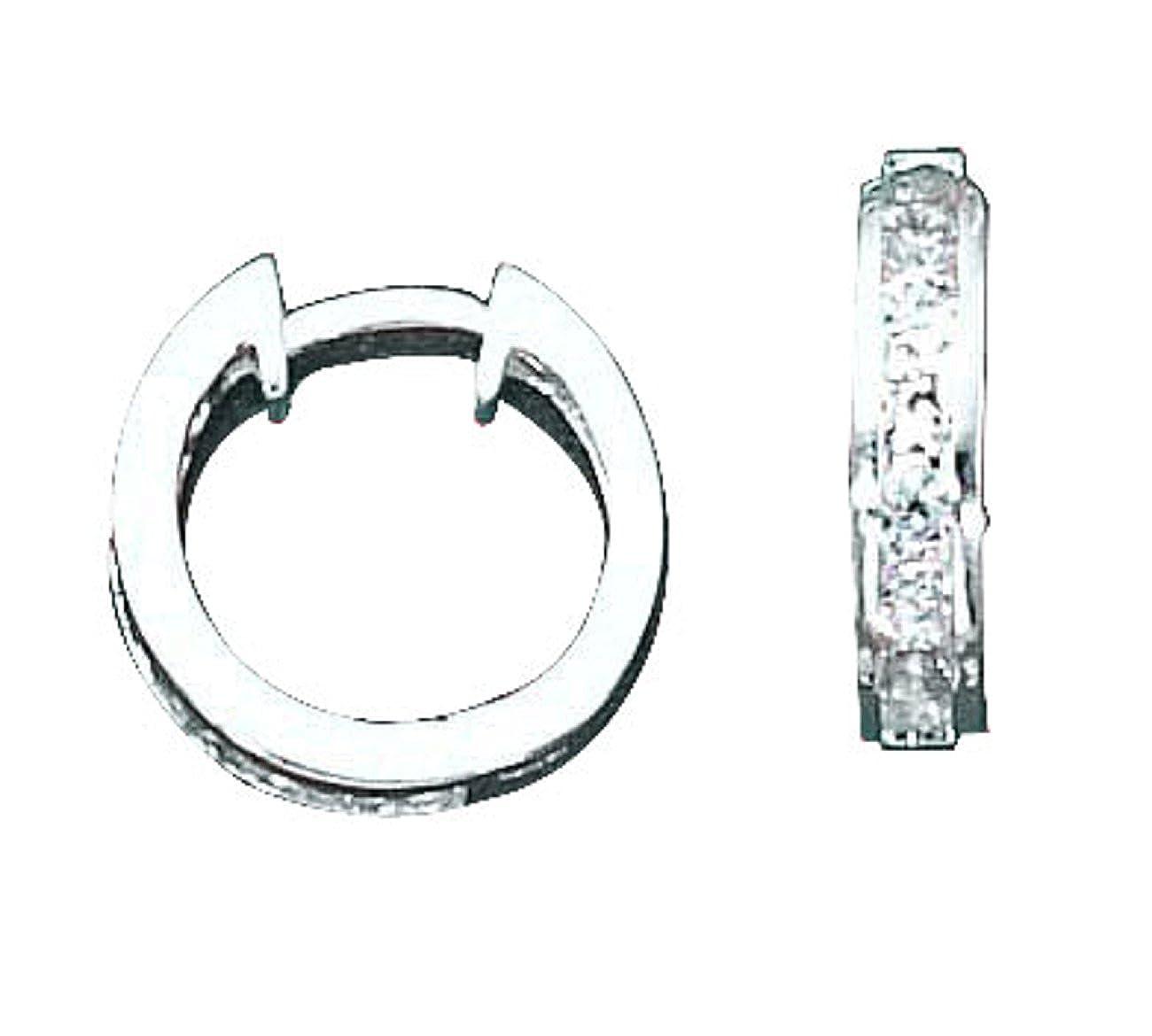 Sterling Silver Channel Set Cubic Zirconia Hinged Hoop Earrings