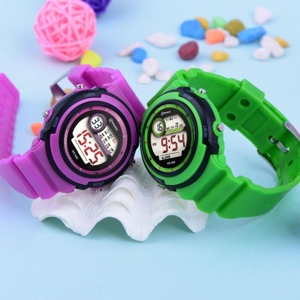 922f6f835958 Deportivo LED Luminoso Alarma Digital Impermeable Correa de PVC Cuarzo  Relojes Niños Relojes para Niños