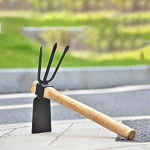 jidan Stainless Steel Garden rake Hand Tools Digging Hoe with Two Head Gardening Planting Digger Excavator Wooden Handle Portable Garden Hand Tool Steel Hot