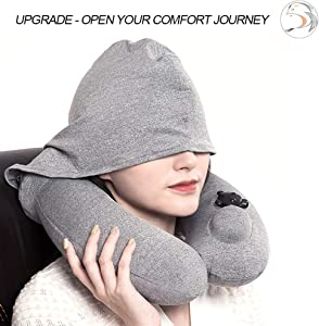 YJNBD Inflatable Travel Pillow,Hoodie Pillow,Inflatable Neck Pillow with Hood for Adult Plane Flight, Blue Washable Ergonomic Hoodie Cover for Airplane Train Subway.
