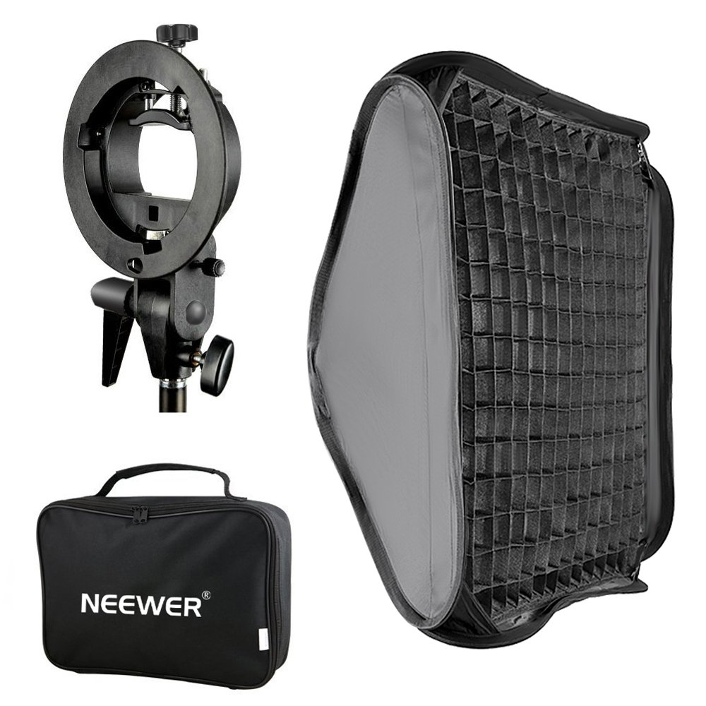 Neewer 24x24 inches Bowens Mount Softbox with Grid and S-Type Flash Bracket for Nikon SB-600, SB-800, SB-900, SB-910, Canon 380EX, 430EX II,550EX,580EX II,600EX-RT, Neewer TT560 Flash Speedlite by Neewer