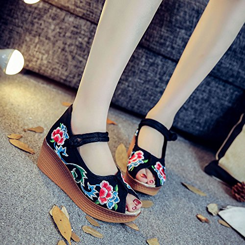 KHSKX-Progressive Color High Waterproof Fish Mouth Embroidered Shoes Sandals Folk Style Women'S Shoes Black mM11ErX