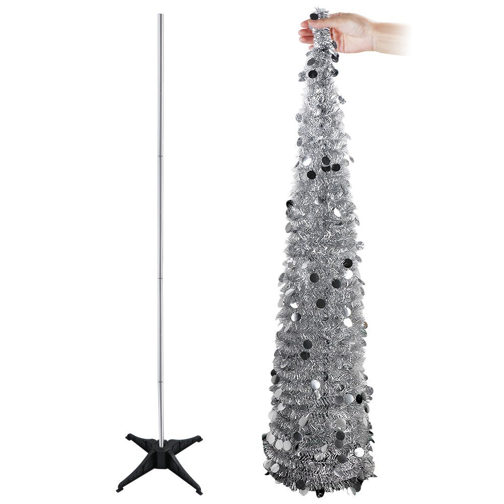 AerWo 1.5m (5ft) Collapsible Tinsel Christmas Trees, Sequin Bling Pop Up Artificial Xmas Tree for Christmas Decoration Home Decoration (Green)