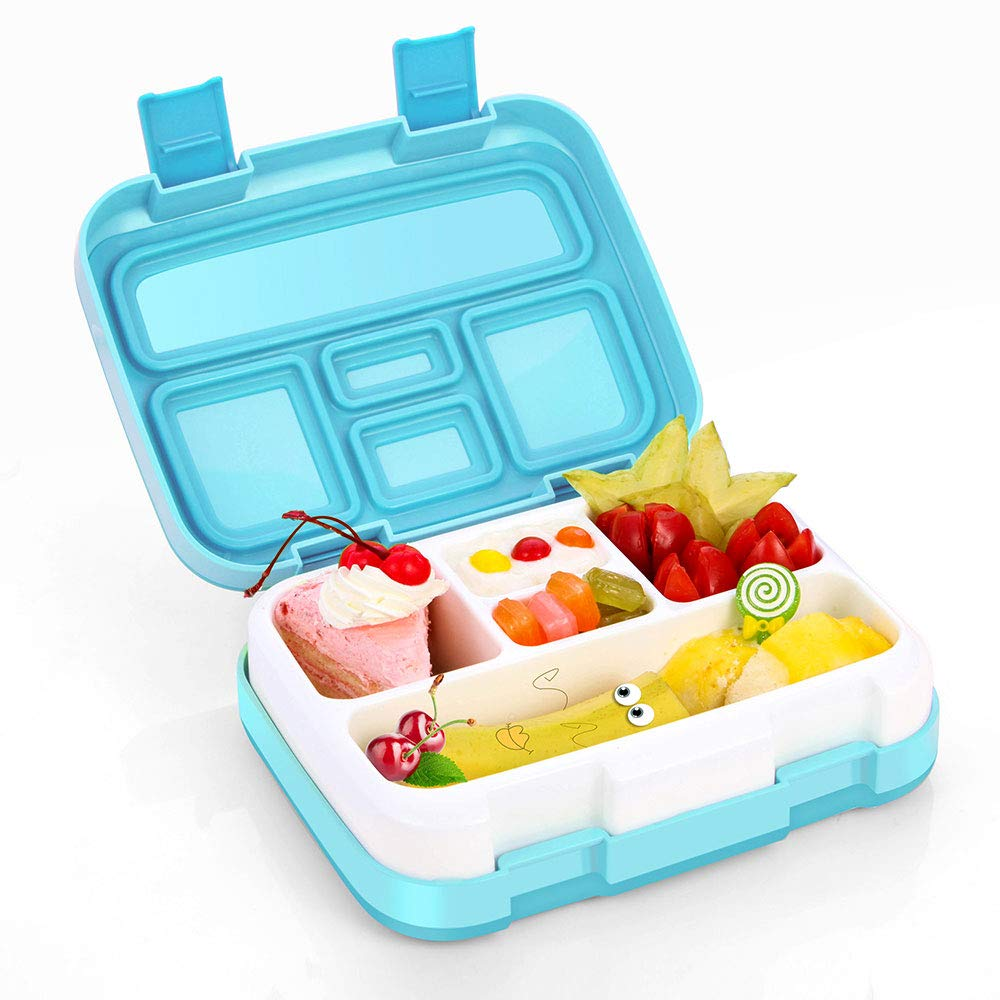 Bento Box, Bento Lunch Box for Kids with BPA-Free, Leakproof 5 Compartments Food Container Great for School, Picnics, Travel and More (Blue)