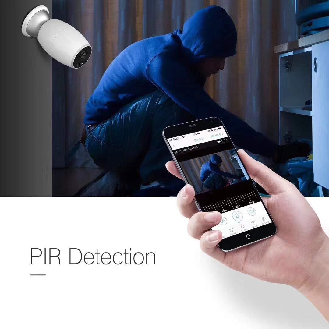 VIGICA Wifi Telecamera di Sicurezza 1080P Ricaricabile a Batteria Videocamera sorveglianza esterno iOS Android remoto Versione Notturna Audio Bidirezionale Allarme Sensore di Movimento PIR