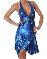 Kleid Cocktailkleid Minikleid V-Ausschnitt Leder-Optik Wet-Look Einheitsgröße (34,36,38) - verschiedene Farben