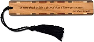 product image for Abraham Lincoln - A New Book is Like A Friend Quote - Engraved Wooden Bookmark with Tassel - Search B07QJDK6BF for Personalized Version