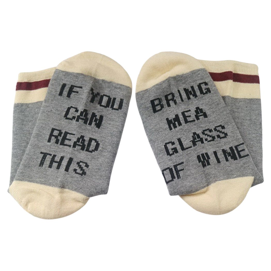 Funny Socks, Aniwon If You Can Read This Socks Funny Gifts Beer Me Wine Socks for Men and Women