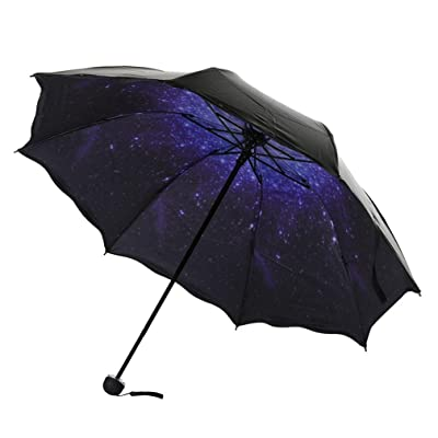 well-wreapped SANNYSIS Travel Parasol Folding Rain Windproof Umbrella Double Folding Anti-UV Sun/Rain Umbrella (Blue)