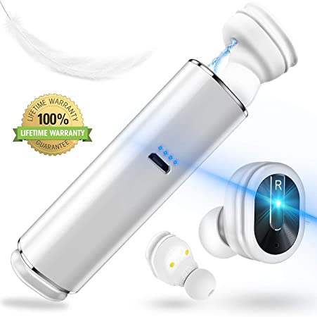 Wireless Bluetooth Earbuds, TWS Bluetooth 5.0 Headphones with Mic and Charging Case, Hi-Fi Quick-Pair Bluetooth Earphones 15H Playtime for iPhone and Android White
