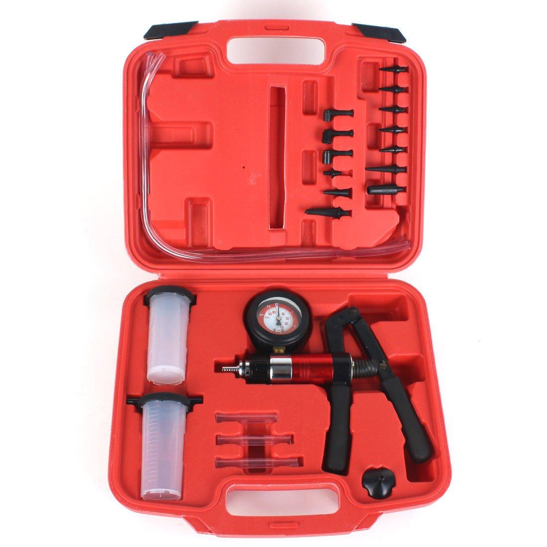 22PC Hand Held Vacuum Pressure Pump Tester Kit Brake Fluid Bleeder Car Motorbike Bleeding Set