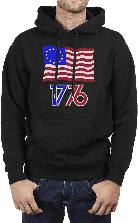 American Betsy Ross Flag 1776 R Mens Hooded Fleece Sweatshirt Classic Pocket Hoodie