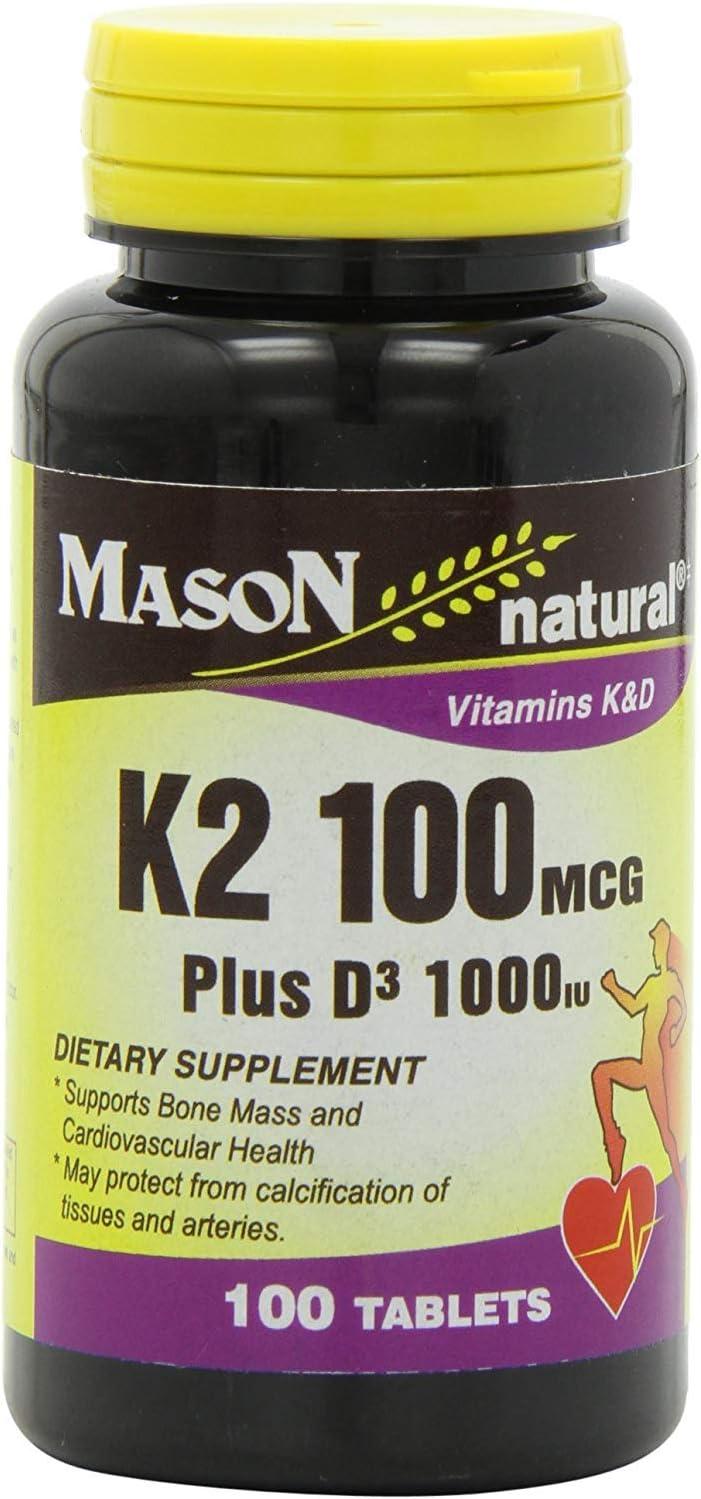 Vitamina K2 Plus D3 Tabletas, 100 Count, Suplemento Dietetico Support