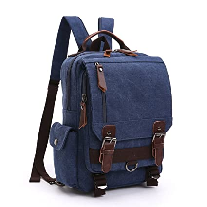 LOSMILE Mochila Hombres Mujer Lona Bolso de Bandolera La Bolsa de Mensajero Bolsa de Lona Bolsa de Hombro Messenger Bag Backpack. (Azul Profundo)