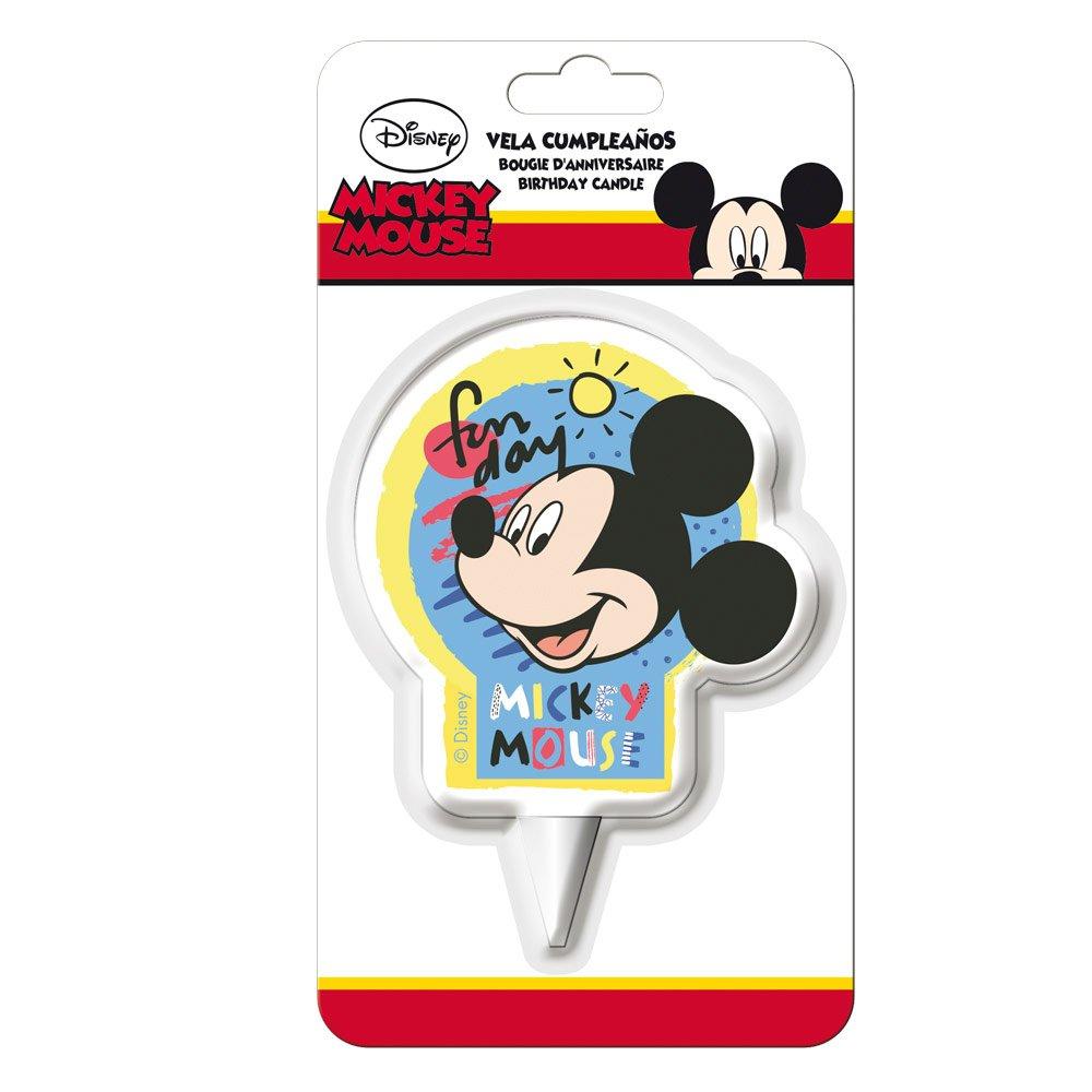 Dekora 346217 Vela de Cumpleaños 2D Mickey Mouse, Cera, Multicolor, 7.5