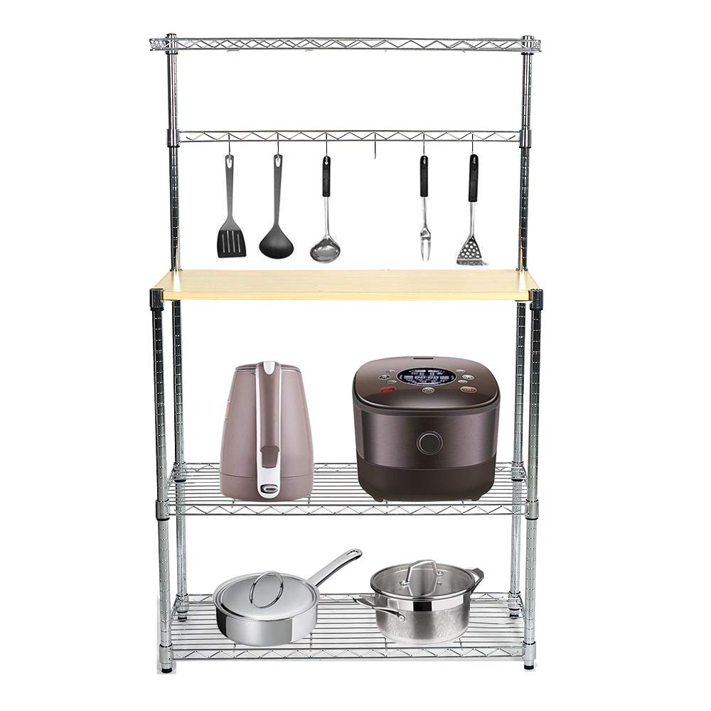 Livebest 4-Tier Kitchen Standing Baker's Rack Adjustable Cart Microwave Storage Shelf with Wheels Chrome Shelves and Thicken Cutting Board (Large) by Livebest