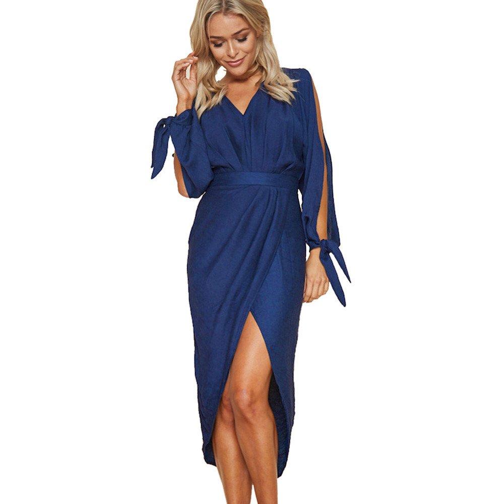 JESPER Women Summer Boho V-Neck Long Maxi Dress Evening Party Beach Dresses Sundress Blue