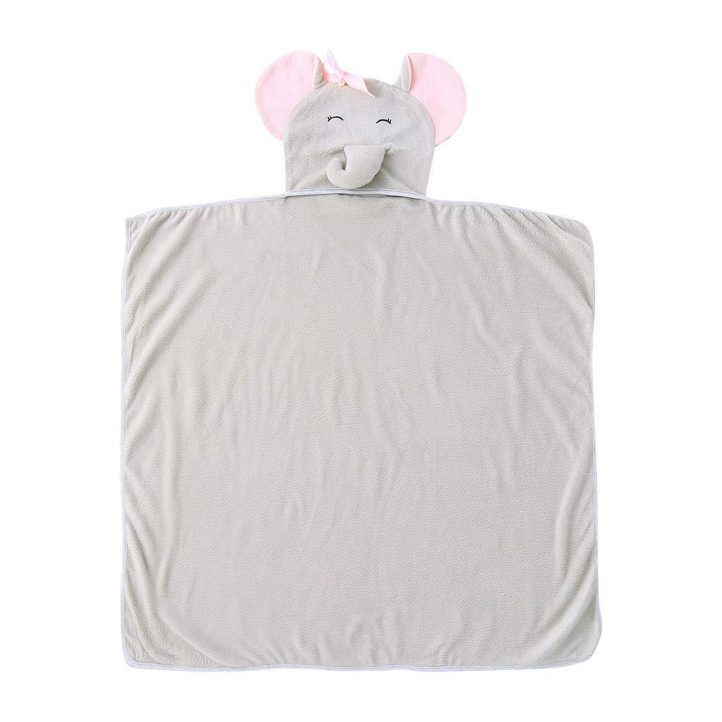 NUWFOR Newborn Infant Baby Cartoon Hooded Swaddle Blanket Sleeping Wrap Towel (Gray,6~12M)