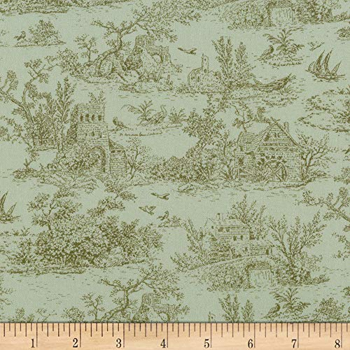 Kaufman Meredith Toile Green Fabric by the Yard