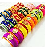 hot selling multi color Silk Thread bangles full set of 24 big bangles and 48 small bangles (size-2/2)