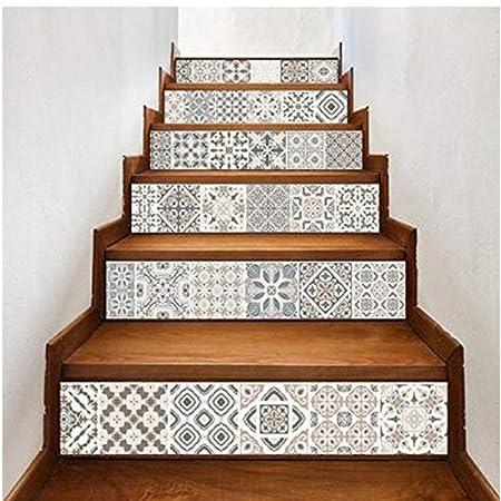 KY&CL Estilo árabe Escalera Pegatina imitación azulejo Etiqueta Muebles Mural decoración Cocina baño Wallpape 7.1 x 39.4 6PCS/Set: Amazon.es: Hogar