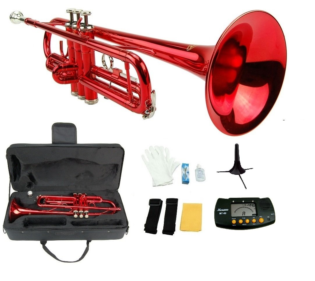 Merano B Flat RED / Silver Trumpet with Case+Mouth Piece+Valve Oil+Metro Tuner+Stand GWD300RD-MT