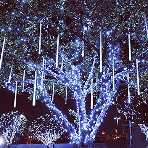 (LED Meteor Shower Lights 60cm 8 Tubes LED Falling Rain Drop Fairy Light Waterproof Tree Decor Icicle Lights for Wedding Party Christmas Decorations Shipped From USA (White))
