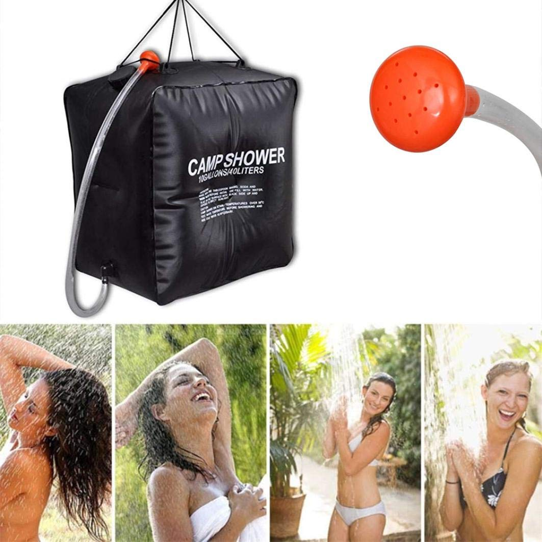 Solar Shower Bag 10Gallons/40L Portable Solar Heated Shower Water Bathing Bag with Hose for Camping Hiking Traveling Summer Shower