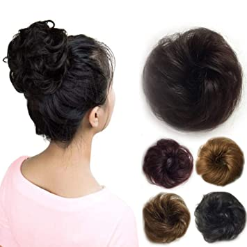 Amazon Com Vowinlle 100 Remy Human Black Hair Bun Extensions