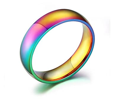 acupress rainbow colorful titanium steel rings menwomens engagement wedding band size 10 - Wedding Ring For Men