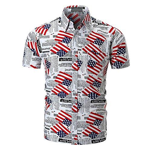 0ae445513eac0 Qisc Men s Patriotic Bomb Pop Hawaiian Shirt - Red White and Blue American  Flag Button Down Shirt (XL