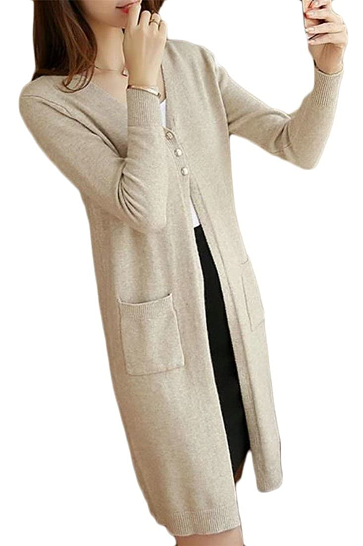 918b75ed4b8 Lutratocro Women s Solid Color Sweaters Coat Fashion Long Sleeve Knitting  Button Cardigans Beige One-Size at Amazon Women s Clothing store