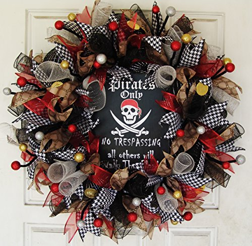 Pirates Only Skull Crossbones Skeleton Deco Mesh Front Door Wreath, Party Decoration Halloween Prop Decor, Porch Patio Outdoor, Gift Wall by JJPrettyThings