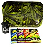 Bundle - 6 Items Be Lit Leafy Rolling Tray with (4) Assorted King Pin Hemp Wraps All Natural