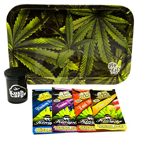 Bundle - 6 Items Be Lit Leafy Rolling Tray with (4) Assorted King Pin Hemp Wraps All Natural by Be Lit, King Pin