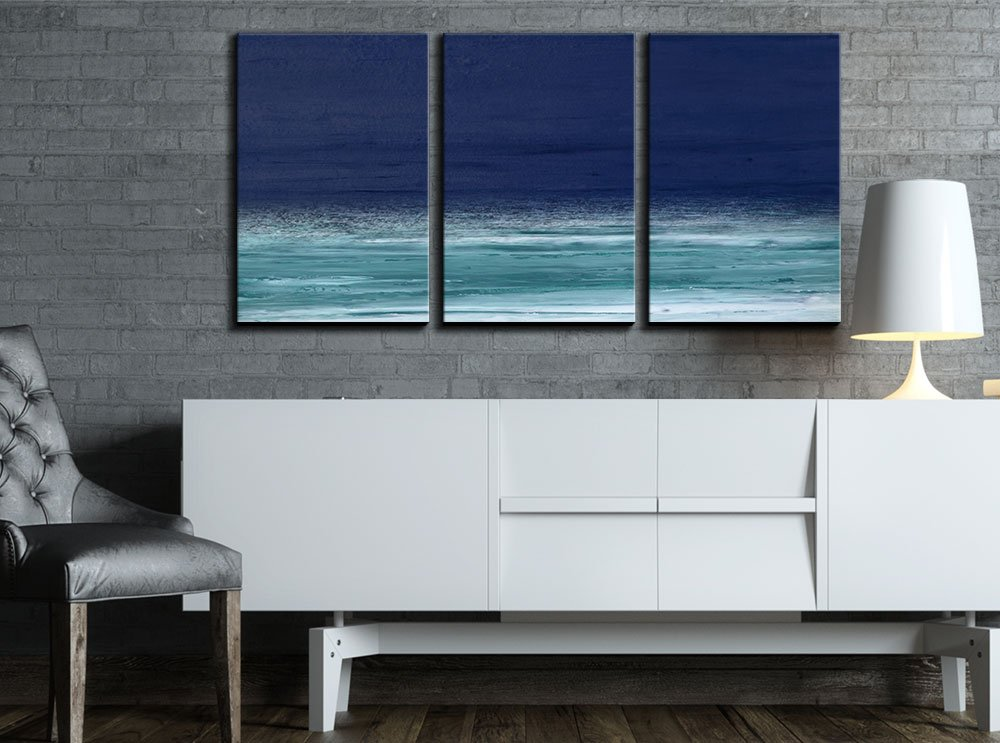 wall26 3 Piece Canvas Wall Art - Abstract Seascape Artwork - Modern Home Decor Stretched and Framed Ready to Hang - 16''x24''x3 Panels