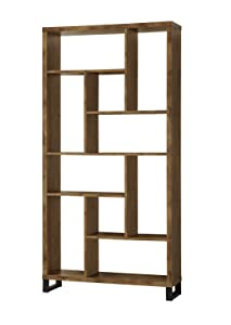 Coaster Home Furnishings 801236 Coaster Industrial Rustic Antique Nutmeg Open Bookcase with Different Sized Cubbies,