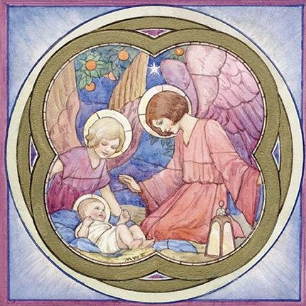 Luxury Fine Art Christmas Cards Med8049 Angels Gathering Box