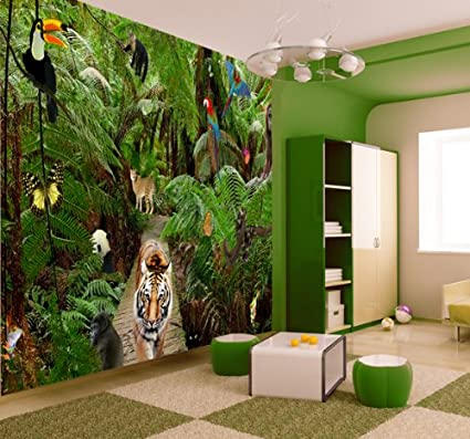 jungle wallpaper mural amazon co uk kitchen \u0026 home