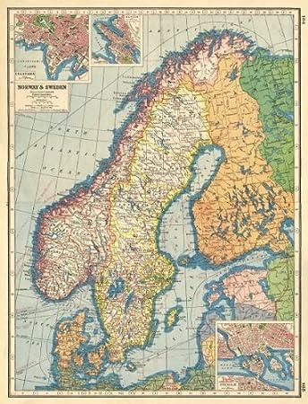 Karte Skandinavien.Skandinavien Norwegen Schweden Ostsee Christiania Oslo Bergen