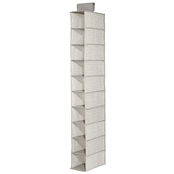 InterDesign Axis 10 Shelf Shoe Organizer U2013 Chevron Hanging Closet Storage  System, Taupe