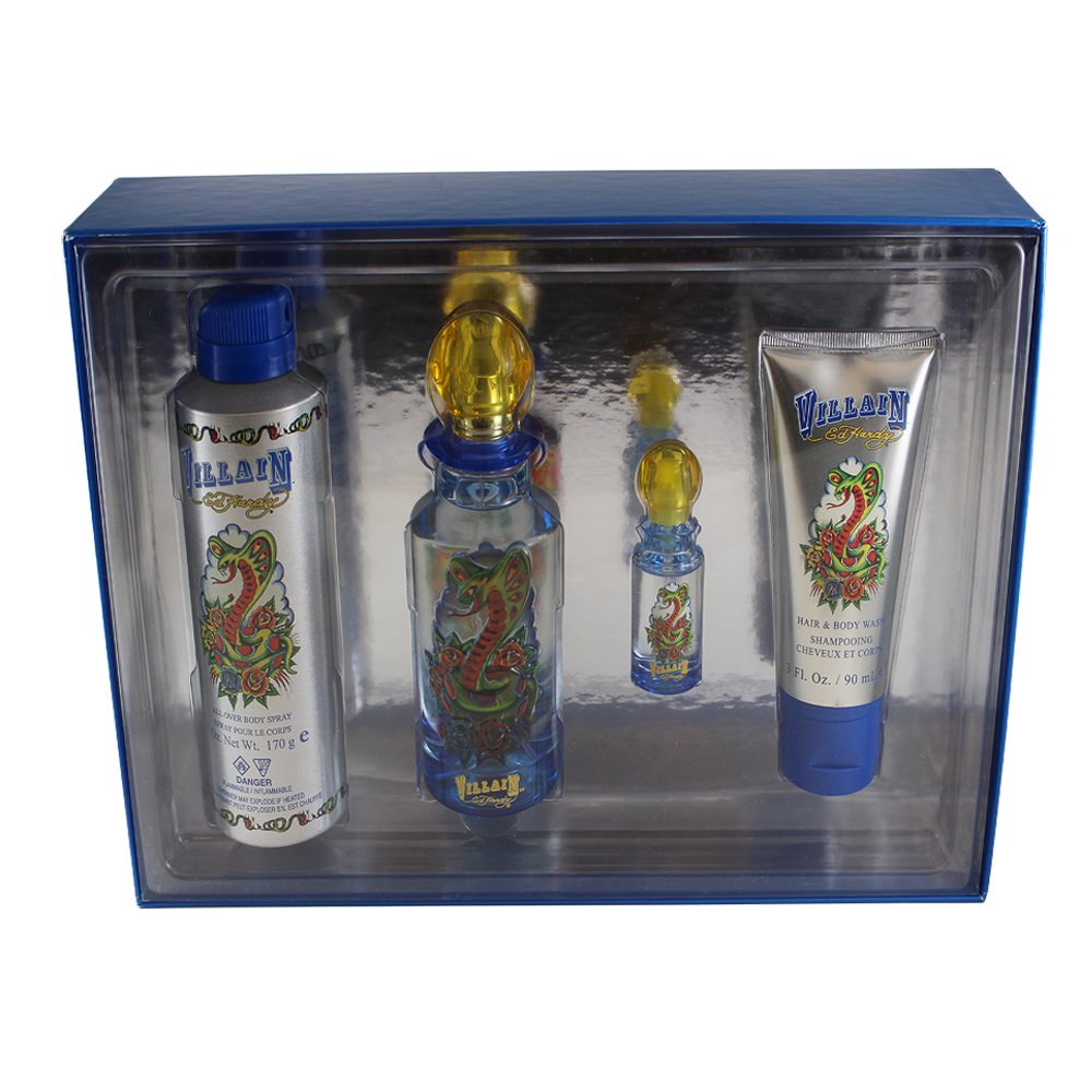 Christian Audigier Ed hardy villain 4 pc. gift set (eau de toilette spray 4.2 oz & eau de toilette spray mini 0.25 oz & hair & body wash 3 oz) for men VI44M