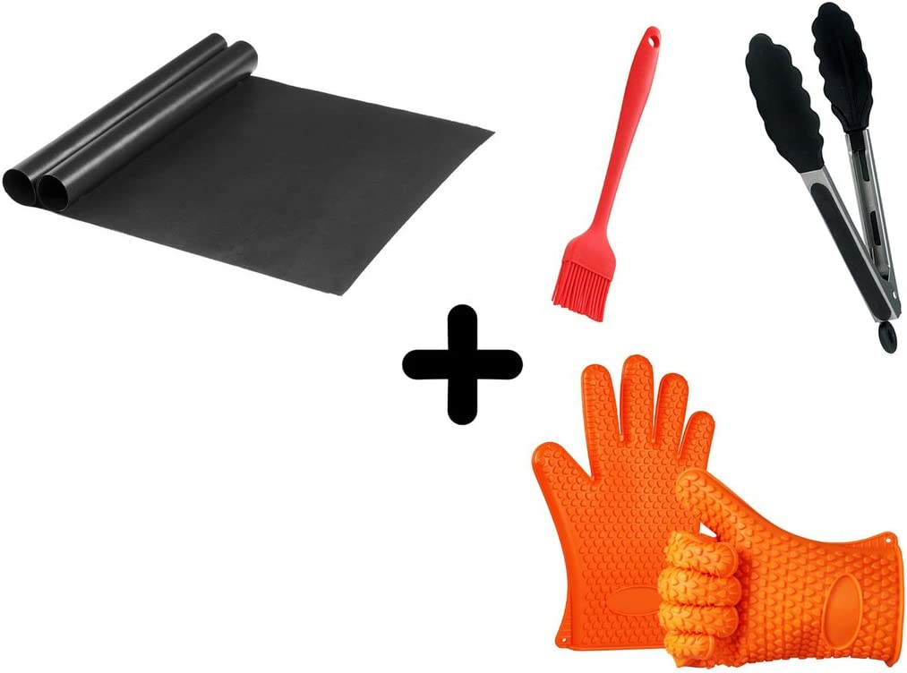 FEROS KIT – 5 Items 2 Non Stick BBQ Grill Mats Silicone Set 2 Heat Resistant BBQ Grill Gloves, BBQ Grill Basting Brush, Non-Stick Locking Tongs