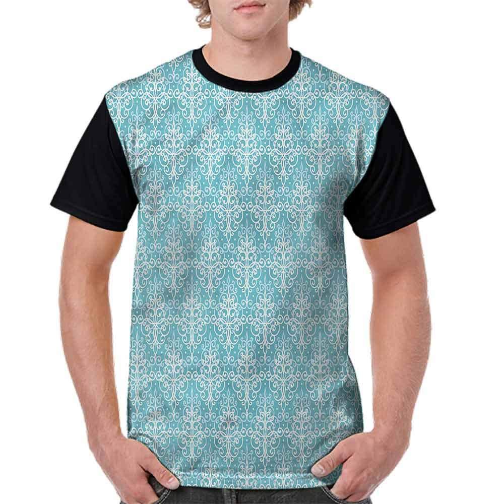 BlountDecor Printed T-Shirt,Antique Damask Swirls Fashion Personality Customization