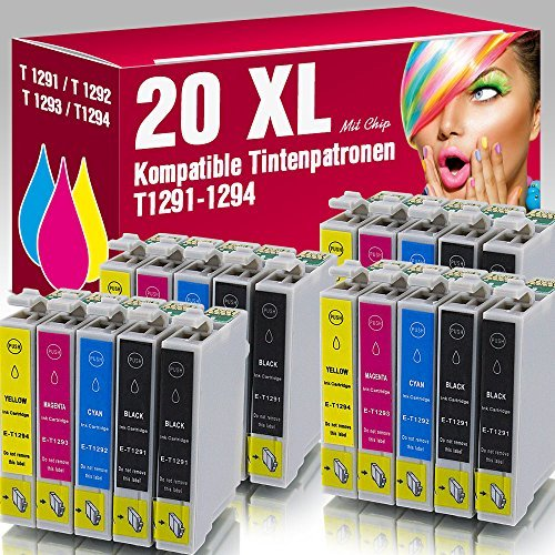 ms-point® 20 kompatible Druckerpatronen für Epson Stylus Office B42 WD BX305 F BX305FW BX305 FW Plus BX320 FW BX525 WD BX 535 WD BX625 FWD BX630 FW BX635 FWD BX925 FWD BX935 FWD SX230 SX235 SX235 W SX420 W SX425 W SX430 W SX435 W SX438 W SX440 W SX445 W SX525 WD SX535 WD SX620 FW Workforce 525 630 WF3010 DW WF3520 DWF WF3530 DTWF WF3540 DTWF WF7015 WF7515 WF7525